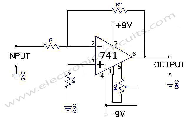741-op-amp-general-purpose-inverting-dc-amplifier-circuit