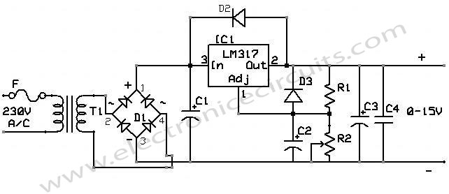 lm 317 regulator IC power supply circuit