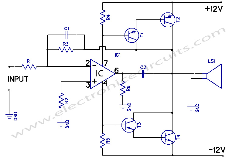 12w amplifier circuit using 741 Op amp IC