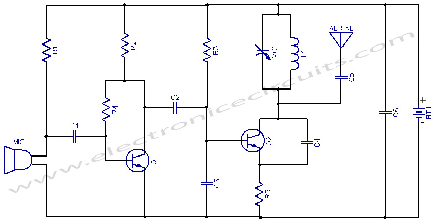 3V FM Transmitter circuit diagram, Frequency modulation Transmitter circuits