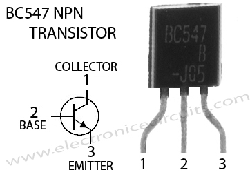 BC547 NPN Transistor pin Configuration top view diagram