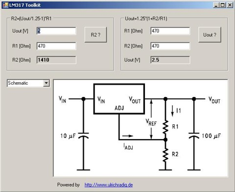 Program to calculate the resistance to an LM317 / LM117.  Interesting for those who.