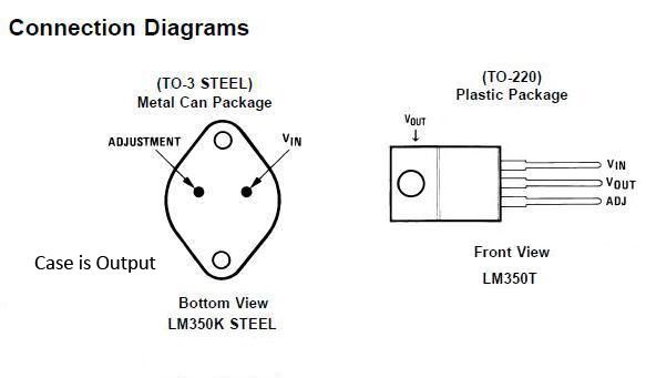 lm350k, lm350t  pinout connection diagrams