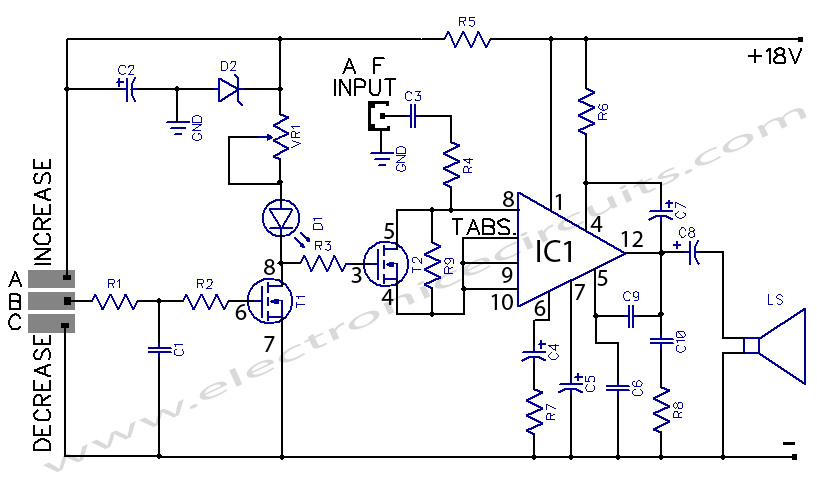 touch controlled amplifier circuit