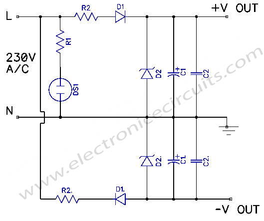 transformerless dual power supply circuit