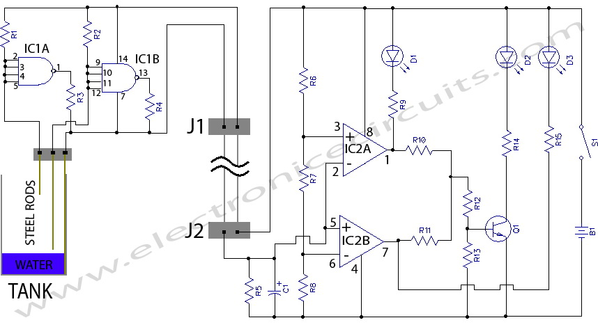 water level indicator circuit diagram | electronic circuits,