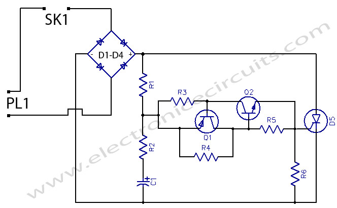 230 Volts Flashing Lamps circuit