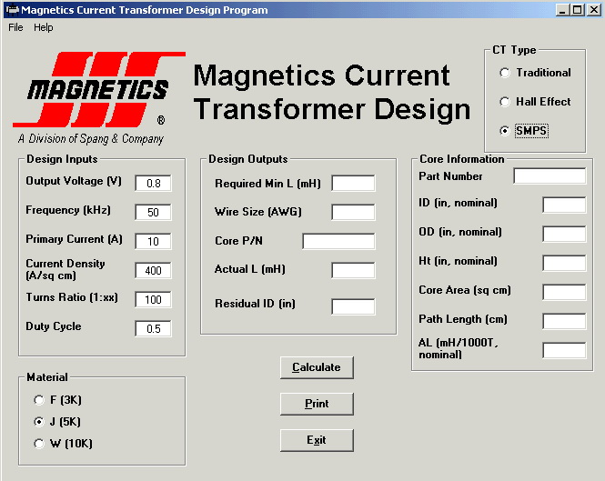 Current Transformer Design Software