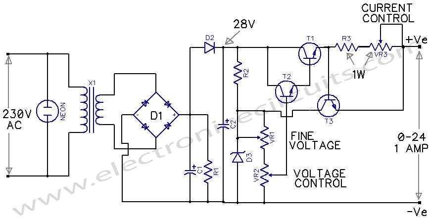 Variable Power Supply 0-24V circuit diagram
