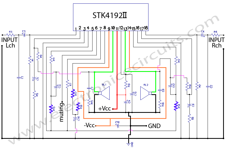 stk4192 stereo  power amplifier circuit diagram