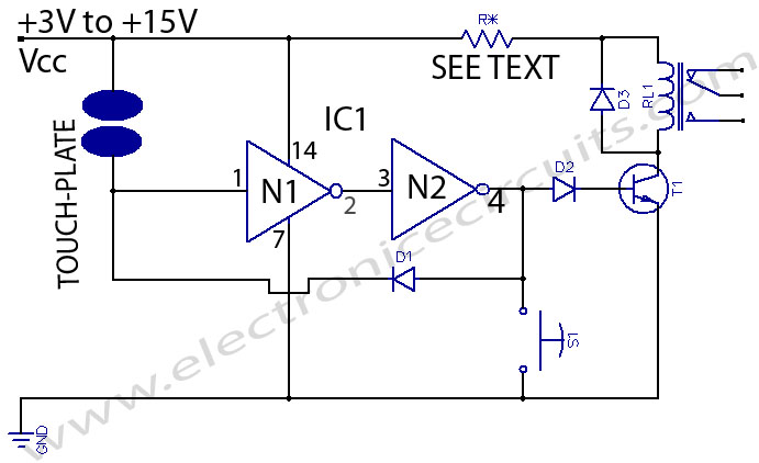 touch switch electronic circuits rh electronicecircuits com soft touch switch circuit diagram touch on off switch circuit diagram