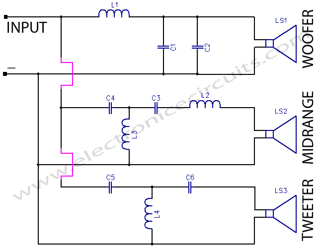 3-way-crossover-network-circuit-diagram  Way Crossover Wiring Schematic on klh model 20 speakers, altec lansing, speakerlab horn, snell type elll, kef c95 3-way, klipsch alk, best mid-range, realistic model one, alon iv, altec lansing model 19, jbl l100,