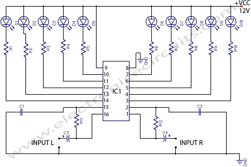 LED STEREO sound LEVEL INDICATOR circuit for audio amplifier circuit diagram led stereo sound level indicator electronic circuits led circuit diagrams at gsmportal.co