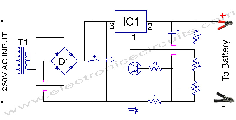 battery charger using lm317 voltage  regulator ic