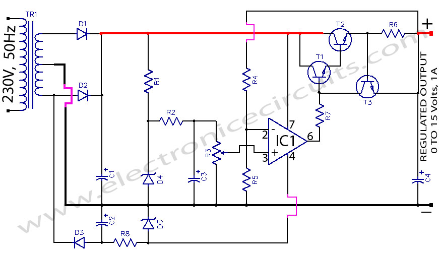 Regulated power supply Using 741 Op Amp IC And 2N3055 Power Transistor