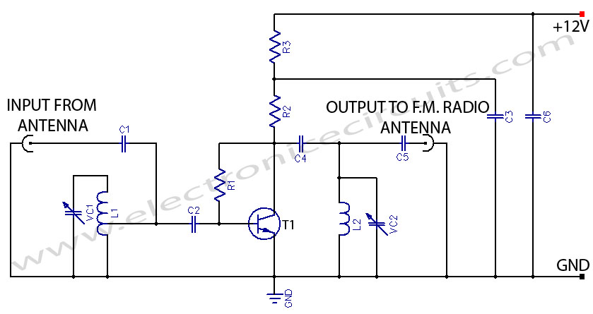FM Booster Active FM Antenna Amplifier circuit fm booster~active fm antenna amplifier electronic circuits Aftermarket Radio Wiring Diagram at crackthecode.co