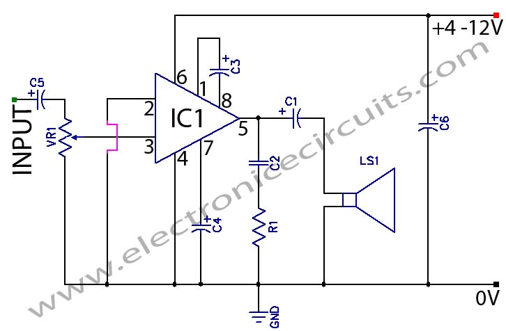 LM386 LOW Voltage Audio Power Amplifier circuit