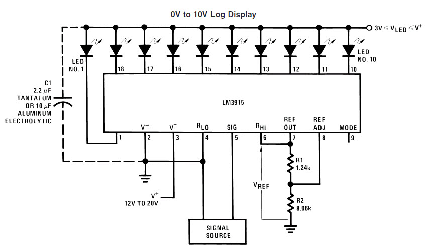 LM3915 Typical Applications 0V to 10V Log LED Display
