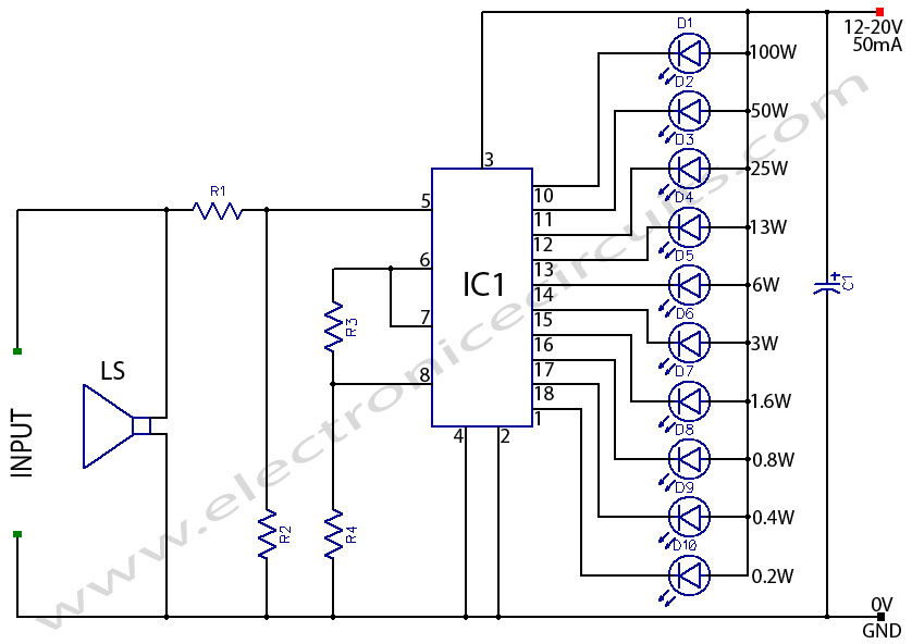 loudspeaker speakeraudio output  power indicator  circuit for power amplifier