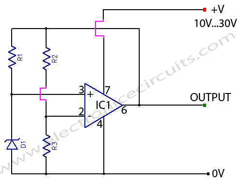 super zener variable zener diode circuit using 741 op amp