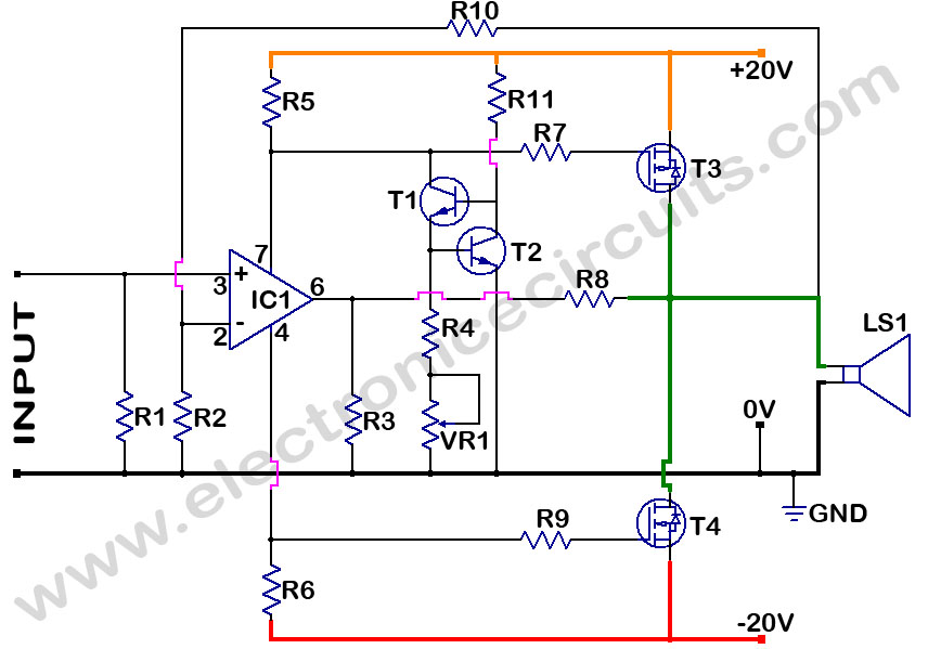 mosfet power amplifier electronic circuits rh electronicecircuits com circuit diagram of subwoofer amplifier circuit diagram of audio amplifier