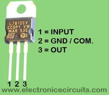 7812 Voltage Regulator lm7812 IC pin configuration