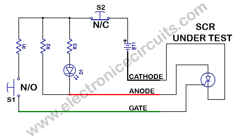 scr or Silicon controlled rectifier tester circuit diagram