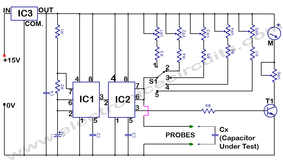 capacitance meter electronic circuits rh electronicecircuits com capacitor meter circuit diagram capacitor tester schematic diagram