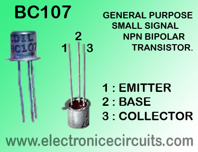 BC107 GENERAL PURPOSE SMALL SIGNAL NPN BIPOLAR TRANSISTOR PIN CONFIGURATION