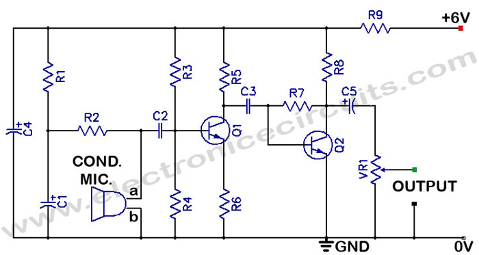 condenser mike pre amplifier circuit electronic circuits rh electronicecircuits com condenser microphone wiring diagram simple condenser microphone diagram
