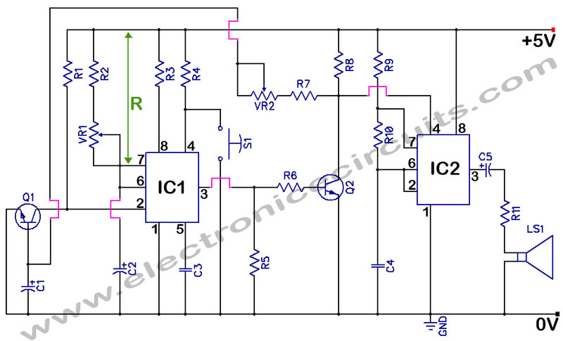 NE555 Timer With Audio Alarm circuit diagram