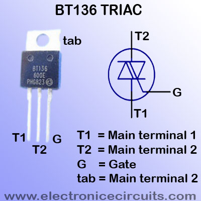 BT136 triac pin configuration Passivated, sensitive gate triac