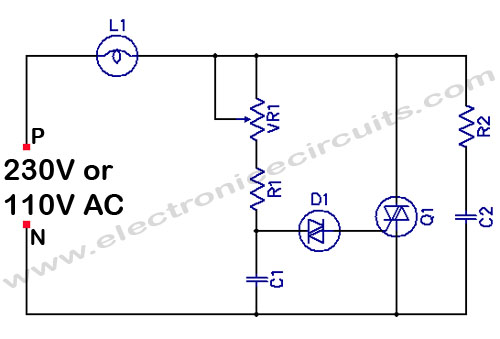 Light Dimmer Circuit Diagram http://www.electronicecircuits.com/electronic-circuits/filament-light-dimmer-circuit