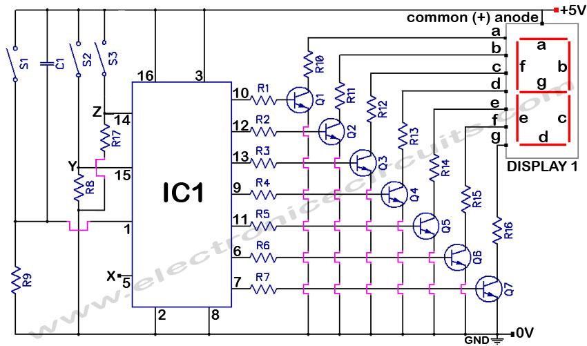 segment common anode display counter  electronic circuits, wiring diagram