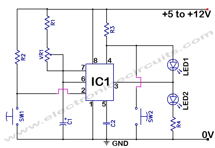 555 Timer Time Delay Circuit diagram