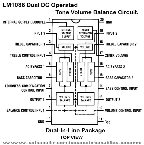 LM1036 Dual DC Operated Tone Volume Balance lm1036n IC pin configuration