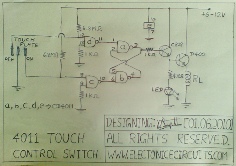 4011 Touch Control Switch Circuit designing electronicecircuits.com