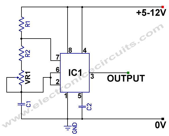 555 Variable Frequency Square Wave Generator oscillator circuit