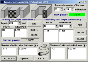 Transformer Calculation software program download