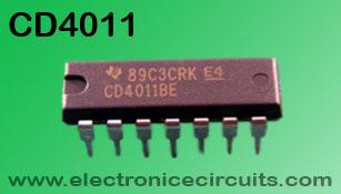 cd4011 Quad 2 Input NAND gate IC top view