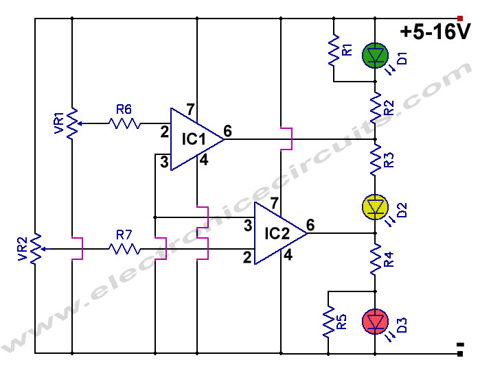 Wiring Diagram For 12v Indicators : Battery charge nominal discharge indicator circuit