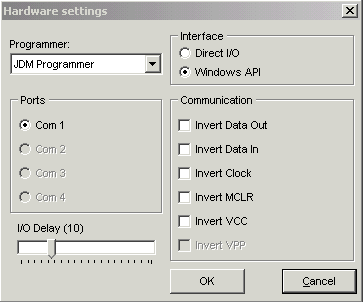 IC Prog Programmer hardware menu settings
