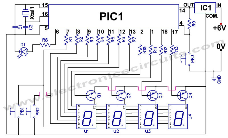 pic f hour digital clock circuit and programming pic 16f84 pic16f84a 12 24 hour clock circuit diagram