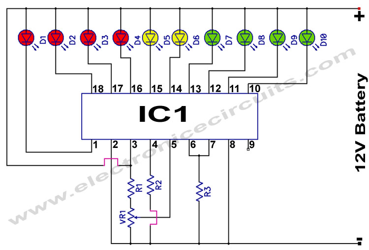 lm3914 12v battery monitor circuit electronic circuits rh electronicecircuits com IC Pin Diagram with Labels 16 Pin IC Diagram