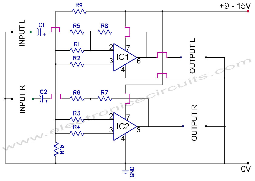 741 Stereo PreAmplifier Circuit Diagram