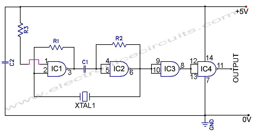 TTL Crystal Oscillator circuit diagram