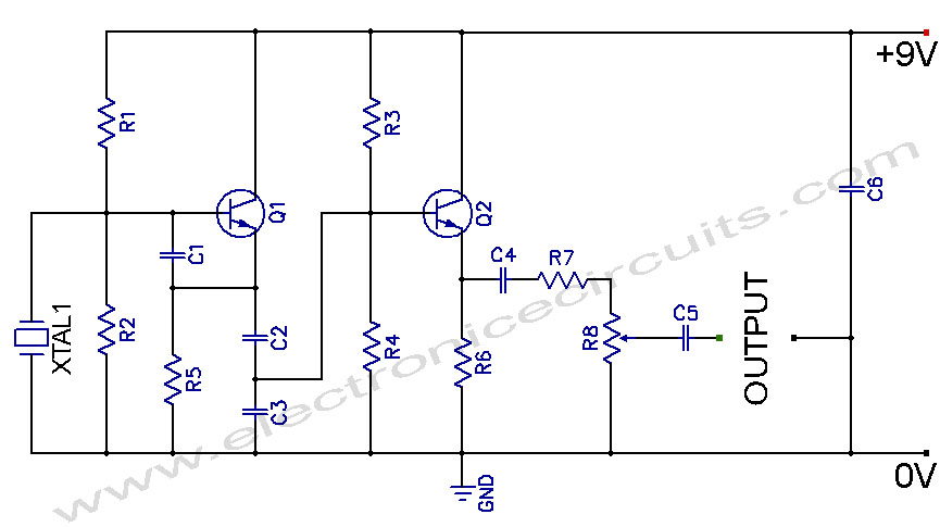 Crystal Controlled Oscillator Circuit diagram