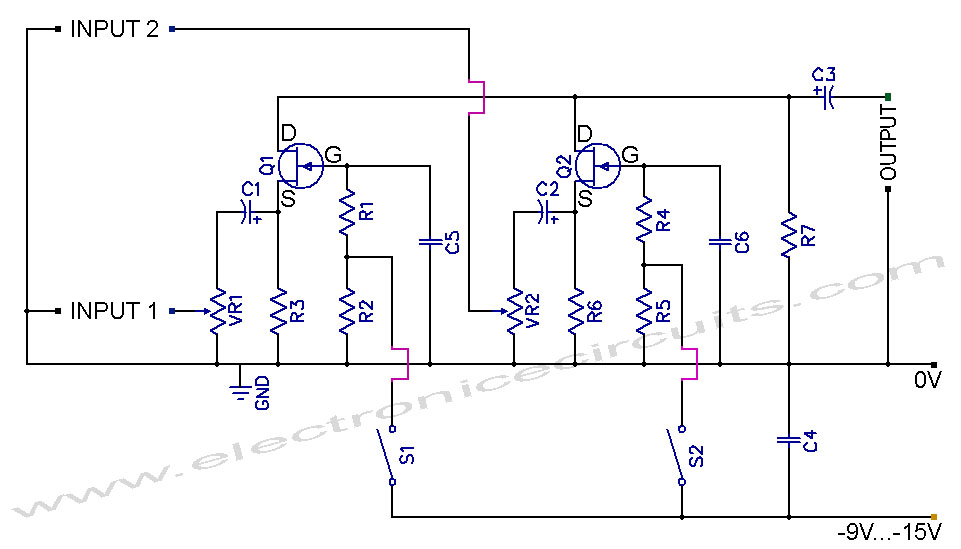 FET Audio Mixer and Switch Circuit Diagram | Electronic Circuits