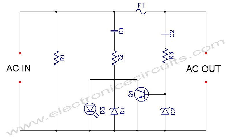 LED Blown AC Fuse Indicator Circuit Diagram