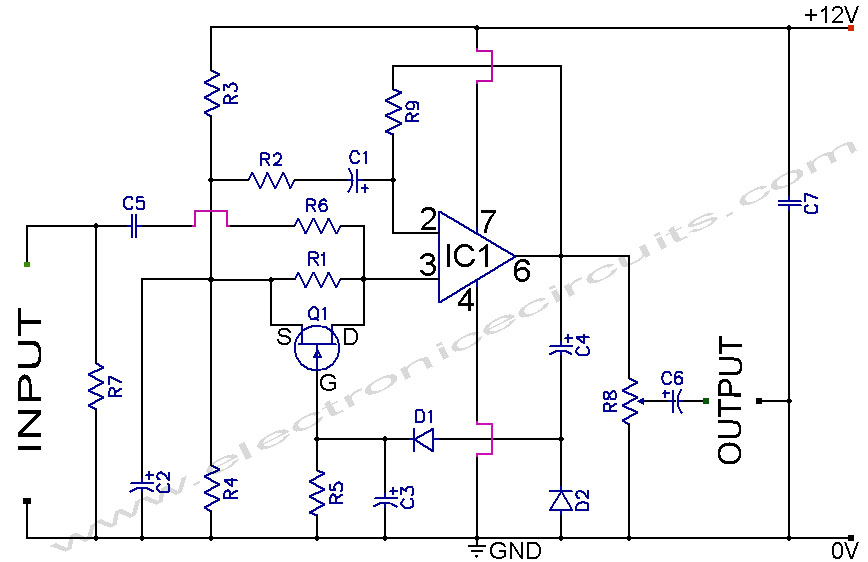 Gain Control Pre Amplifier Circuit Diagram Electronic Circuits - Fav